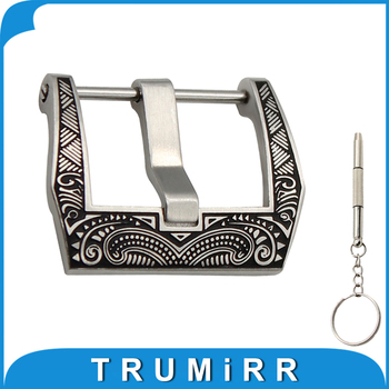 20mm 22mm 316L Stainless Steel Tang Buckle + Screwdriver for Rubber Watch Band Leather Strap Carved Pattern Pre-v Pin Clasp