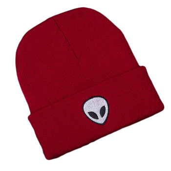 New Casual Women Winter Hats Warm Beanies Hats Alien Figure Embroidery Knit Hat Cotton Skullies Cap Accessories