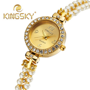 KingSky Top Quality Luxury Fashion Brand Gold with pearl chain Watch Ladies Women Dress Quartz Watch Montre Femme