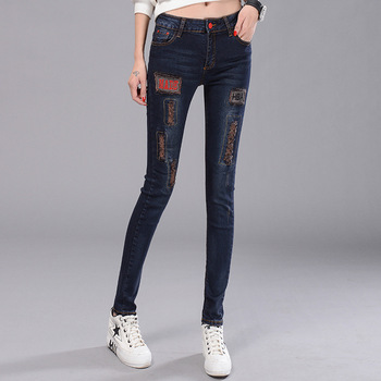 1pcs Women's pencil jeans 2017Summer cotton elastic Slim fit High waist broken hole Jeans Ladies skinny pencil denim pants girls