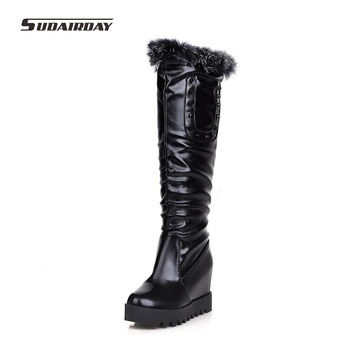 Plus Size 34-43 2016 Womens Winter Rabbit Hair Height Increasing Snow Boots Women Winter High Heels Shoes Woman Knee-High Boots