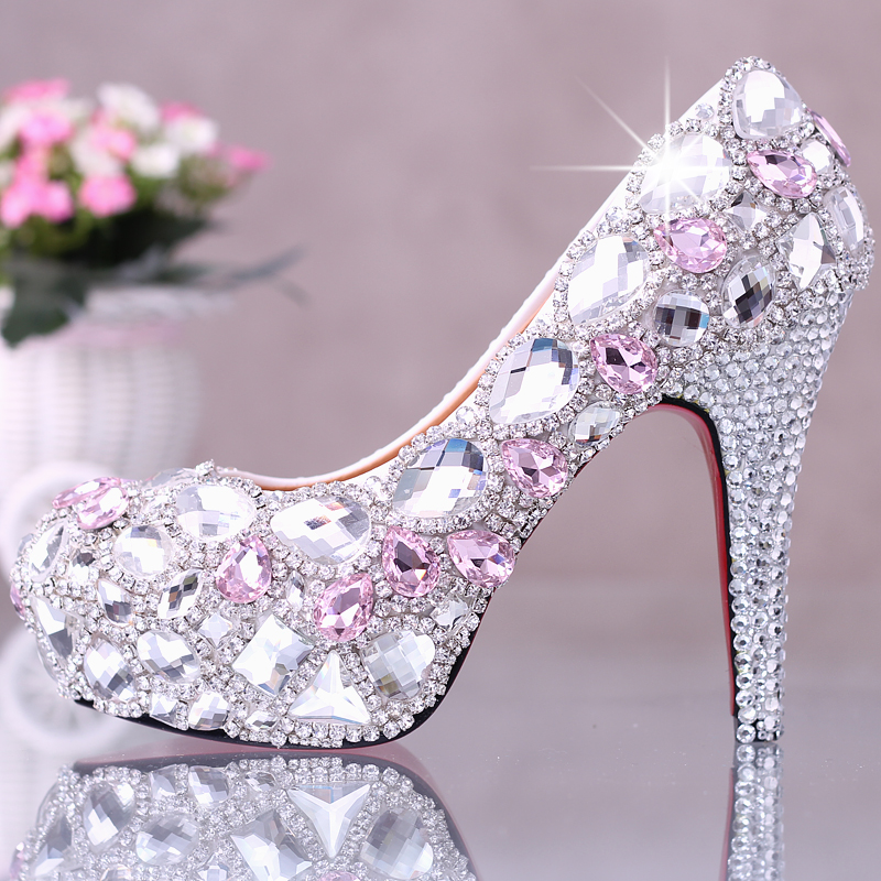 Luxury Pink Crystal Wedding Shoes Bride Fashion Shallow Mouth Diamond Shoes Super High Heel Waterproof Pumps