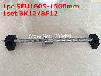 1Set SFU1605 Ballscrew - 1500mm end machined+ 1set BK/BF12 Support RM 1605-c7