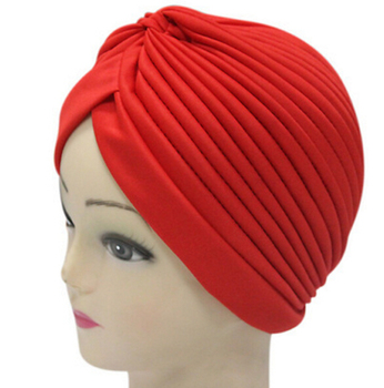 2017 New Fashion Women Soild Color Indian Turban Hats Caps For Ladies