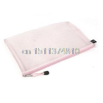 Zip Up Nylon Mesh A4 Paper Document File Pen Bag Holder Organizer Light Pink