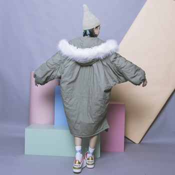 Vintage solid color oversize placketing asymmetrical pleated long-sleeve with a hood fur collar wadded jacket cotton-padded