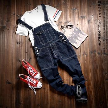 Black Denim Overalls Men Bib Jeans Spaghetti Strap One Piece Jean Jumpsuits For Adult Mens Cotton Suspender Pants