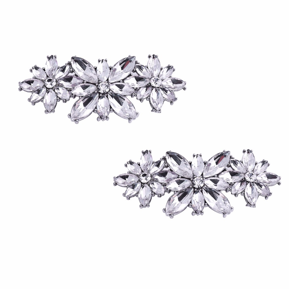 BL Fashion Flower Design Rhinestone Party Pumps Crystal Shoes Hat Removable Buckle Bling Decoration Shoe Clips 2 Pcs