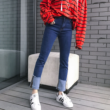 Jasmine fashion classic solid color all-match hem midsweet patchwork roll-up high waist denim jeans