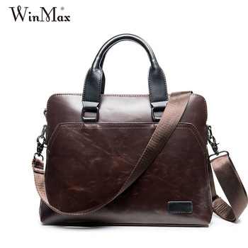 2016 New Man Handbags Crazy horse Leather handbag brand top-handle Bag men's briefcase Winmax man briefcase mochali