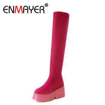 ENMAYER Black&Red Long Boots Shoes Woman High Heels Round Toe Wedges Genuine Leather Knee-high Boots Size 34-39 Platform Shoes