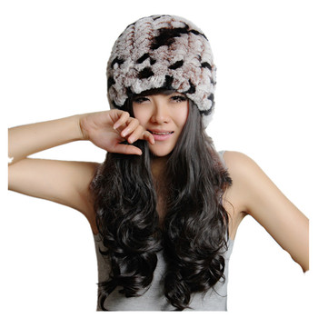 H767 autumn winter rex rabbit fur knitted warm caps with trim. thermal ladies black real rabbit fur hat
