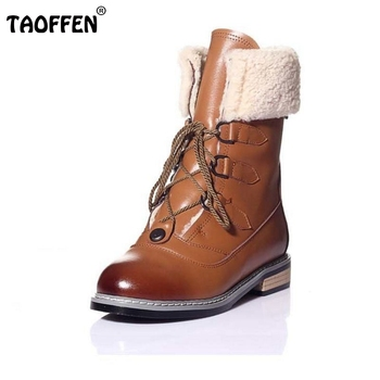 Women Genuine Leather Half Short Boots Woman Retro Mid Calf Martin Boots Female Warm Winter Casual Shoes Size 34-39 N00006