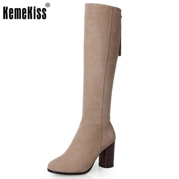 New Round Toe Knee High Real Genuine Leather Boots Fashion Women Shoes Ladies Medium Heel Autumn Boots Size 34-39