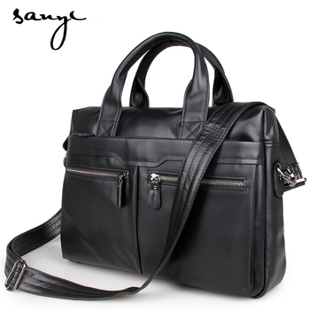 SANYI Genuine Leather Bag Casual Men Handbags Cowhide Men Crossbody Bag Men's Travel Bags Laptop Briefcase Bag for Man