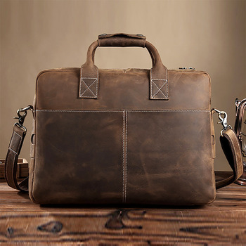 Top Quality Crazy Horse Men Briefcase Business Bag Luxury Cross Body Shoulder Bags Vintage Genuine Leather Laptop Tote Handbag