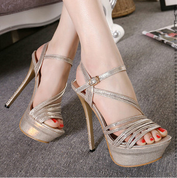 European style summer 14CM super-high heels fine with sandals rhinestone club sexy sequined gold and silver buckle shoes