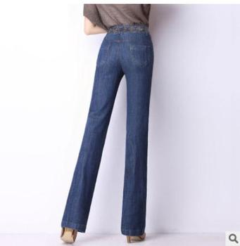 Spring Autumn High Waist Jeans For Women Loose Plus Size Embroidered Straight Stretch Jeans Denim Pantswoman J859