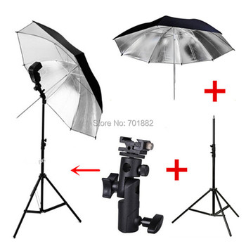 3in1 photography light kit Photo Studio Light Stand Tripod + E Type Hot shoe Flash Bracket + 33 inch Black Reflective Umbrella