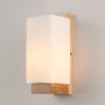 Bedroom Bedside Lamp LED Solid Wood Wall Lamp Corridor Light Simple Style