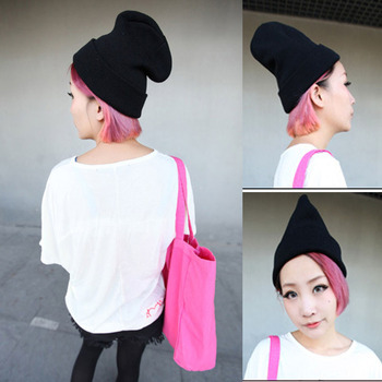 Factory Price! Unisex Warm Knit Hats Women Men Plain Winter Beanie Hats Winter Cap Slouchy Hat