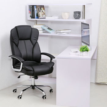 1PC Black Office Furniture Office Manager Chair PU Leather Ergonomic Swial Computer Gaming Chair High Back HC-1603(57B)