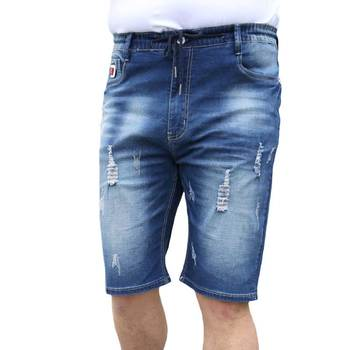 Men's Drawstring Stretch Hight Waist Shorts Jeans Ripped Calf Length Holes Denim Shorts Summer Large Plus Size XXL-6XL(36-50)