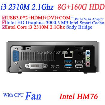 China computers,mini pc with Intel Core i3 2310M 2.1Ghz wifi optional VGA USB COM 8G RAM 160G HDD