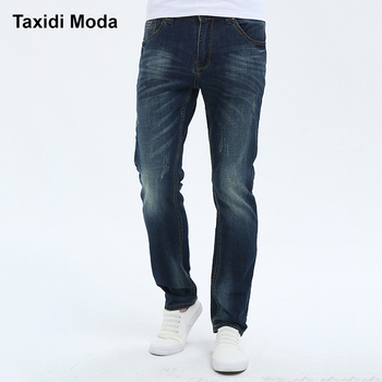Taxidi Moda 2017 Autumn Mens Fashion Denim Pants Blue Color Brand Clothing For Man's Slim Straight Jeans Trousers Plus Size 522