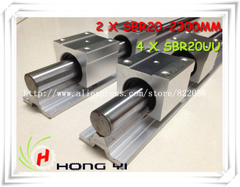2 pcs SBR20 L = 2300mm Linear Rails +4 pcs SBR20UU straight-line motion block for SFU2005 Ball screw (can be cut any length)