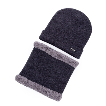 2Pcs/Set Men Soft Wool Warm Winter Hats & Ring Scarf For Men And Women Cashmere Beanie Cap&Scarf Solid Knitted Hat