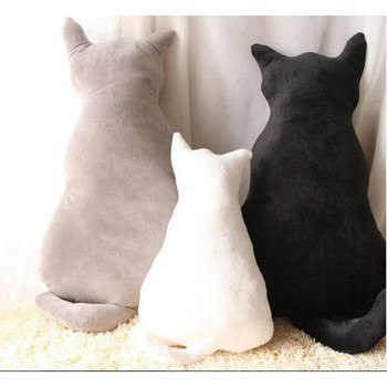 Super cute artificial cat shadow pillow toy,lovely kat back shadow,kitten pussy pet soft doll japan warm cat gift for child girl
