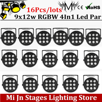 16pcs 9*12W Flat LED Par Lights power in and out 9x12w RGBW 4IN1 PAR DMX512 control disco lights professional stage DJ equipment