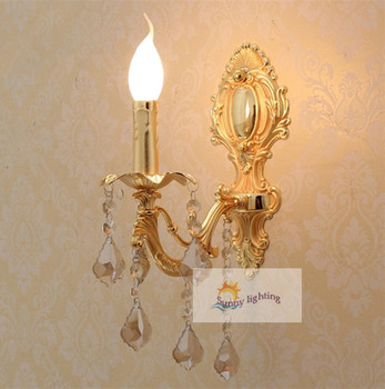 1 pcs modern Gold crystal Wall lamp abajur vintage led wall Sconce lighting bedroom indoor wall crystal lighting