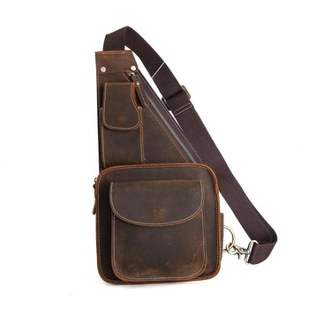 TIDING Vintage Style Leather Men Sling Purse Cross body Small Bag 80515