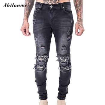 Denim Men Jeans 2017 fake designer clothes man biker jeans skinny frayed patchwork motorcycle jeans men black slim men trousers