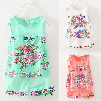2016 Newest Baby Kids Girls Summer Flower Vest Bow Floral Flower Sleeveless Tops T-shirt+Shorts Pants Tulle 2pcs Outfit 1-5Y Set