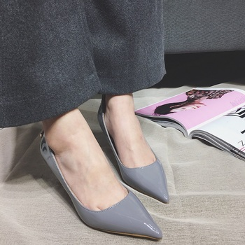 2017 New Women Shoes High Heel Pumps Pointed Toe Grey Pink Green Women's Heels 7.5cm Zapatos Tacon Mujer