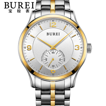 BUREI Luxury Crystal Sapphire Lens Men Automatic Mechanical Watch Waterproof Male Wristwatches With Premiums Package 15001
