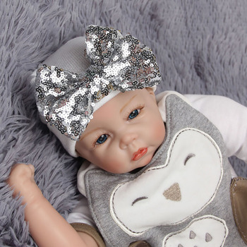 Trendy Infant Girls Baby Stripe Sequined Bowknot Beanie Hat Cotton Knit Hospital Cap Comfort