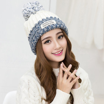 Kesebi 2017 New Hot Fashion Women Koream Winter Labeling Patchwork Caps Hats Female Thick Warm Knitting Casual Skullies Beanies