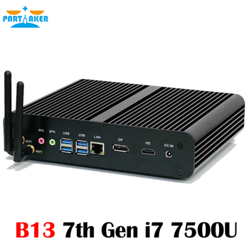 Fanless Mini PC with 7th Gen Kaby Lake Intel Core i7 7500U Winows 10 Fanless Mini PC 4K HTPC Computer