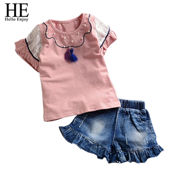 HE Hello Enjoy girls clothes summer Fashion New 2017 girls clothing sets Short-sleeved T-shirt + jeans toddler girl clothing
