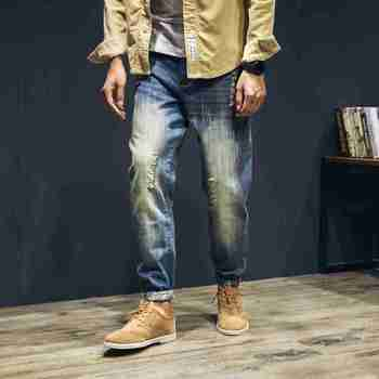 1444 Harem jeans men Distressed Mens baggy jeans Big size Ripped jeans for men Fashion Harajuku Brand-clothing Mens biker jeans
