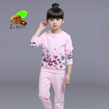 2017 new spring cotton sport Children's clothing sets girls fashion print child suit kids sports casual clothes 3-8 y