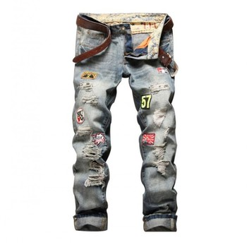 New Fashion Mens Hole Ripped Long Jeans For Man Zipper Fly Casual Straight Jeans Washed Long Pants For Male Size 28-38