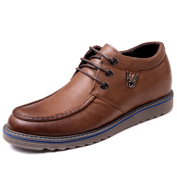 2.36 Inches Taller-Genuine Leather Heightening Elevated Shoes Business Casual Derby Shoes