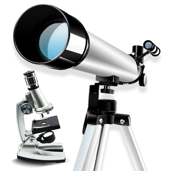 Birthday Gift 2 in 1 Zoom 1200x Toy Student Biological Microscope and 100x Astronomical Telescope for Children Educational Toy