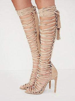 2017 new sexy knee high gladiator sandals high heels lace up suede summer boots thin heels party dance shoes big size 42