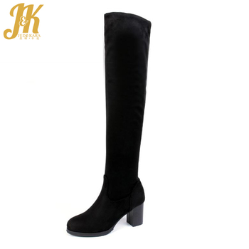 Big Size 33-43 2017 High Thick Thigh High Boots Comfort Nubuck Over the Knee Boots Shoes Woman Slip On Fall Winter Women Boots